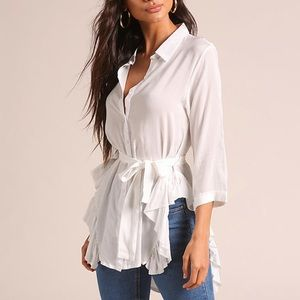White Button Down Collared Ruffled Blouse